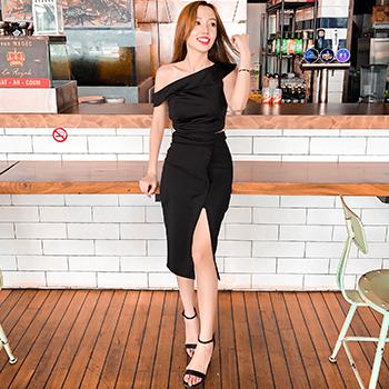 Chelsea One Shoulder Crop Top With Skirt Set