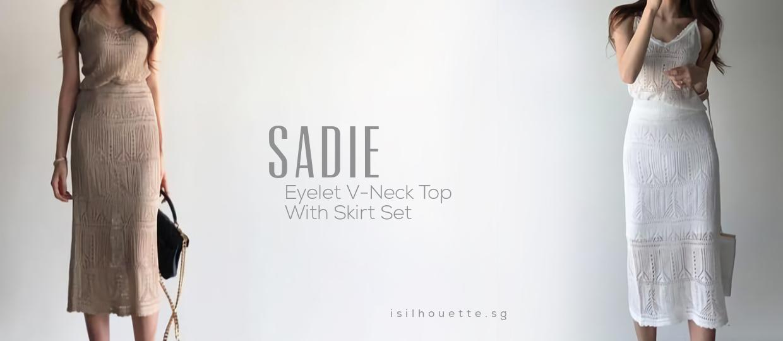 Sadie Eyelet V-Neck Top With Skirt Set