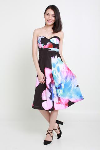 INSTOCK - Masie Floral Tube Dress In Black