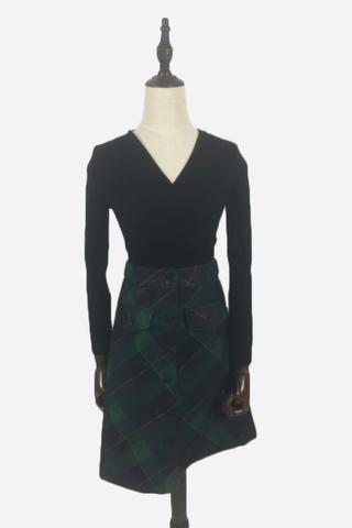INSTOCK - Agna Checkered Skirt In Green