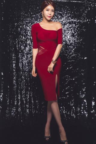 BACKORDER - Kaney Off Slip Shoulder Dress In Red