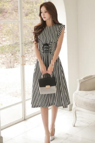 BACKORDER - Tashay Ribbon Waist Tie Dress