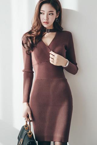 BACKORDER - Dawna Bodycon Choker Dress In Brown