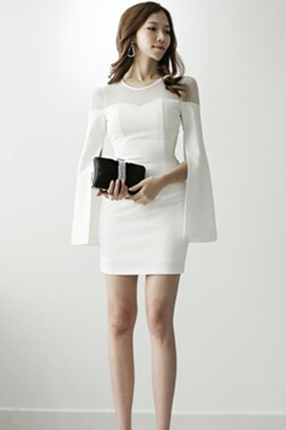 BACKORDER - Aldra Front Mesh Open Sleeve Dress