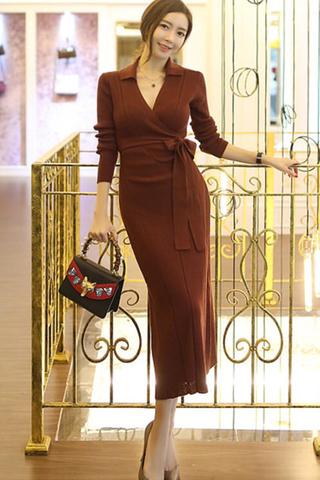 BACKORDER - Serena Collar V-Neck Midi Length Dress In Berry Red