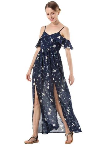 BACKORDER - Kayra Cold Shoulder Slit Dress In Blue