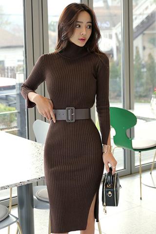 BACKORDER - Alacha Turtleneck Slit Dress In Brown