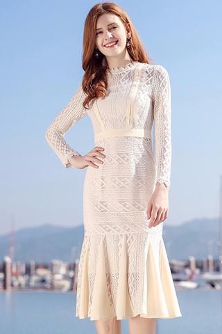BACKORDER - Alatrice Crochet Frill Hem Dress