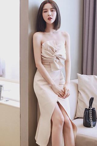 BACKORDER - Ellene Knotted Bustier Top With Skirt Set