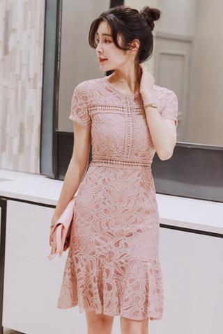 INSTOCK - Kladra Crochet Frill Hem Dress