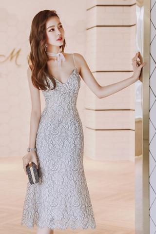 BACKORDER - Melina Lace Flounce Dress