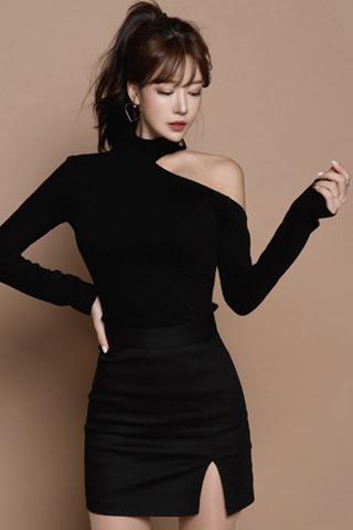 BACKORDER - Mona Cold Shoulder With Side Slit Skirt Set
