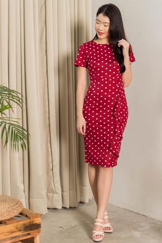 INSTOCK - Rayln Polka Dot Side Frill Dress