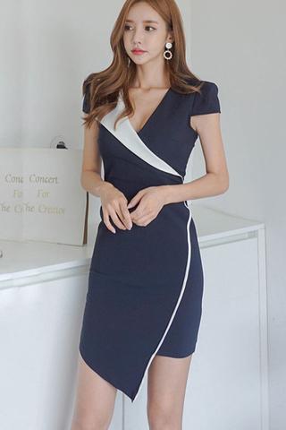 INSTOCK - Alodona Crossover Asymmetrical Dress