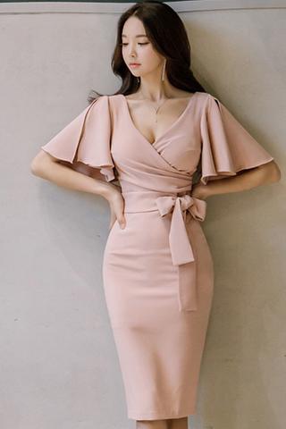 INSTOCK - Camalie Ruffle Sleeve Midi Dress