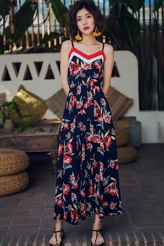 BACKORDER - Qyvine V-Neck Floral Print Dress