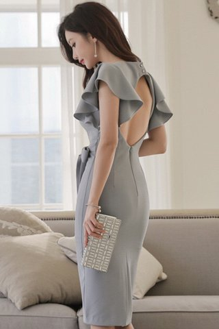 INSTOCK - Karene Ruffle Shoulder Dress In Blue-Grey