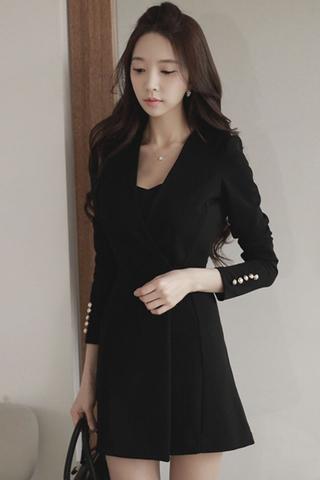 INSTOCK - Daelia Tuxedo Dress In Black