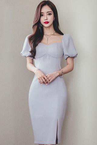 BACKORDER - Ellesha Puff Sleeve Slit Dress
