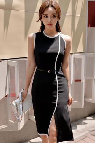 BACKORDER - Syella Bodycon Slit Midi Dress