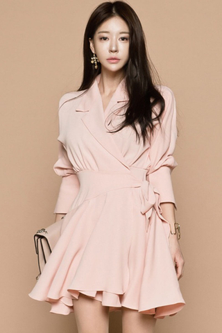BACKORDER - Katasha Ribbon Tie Wrap Dress
