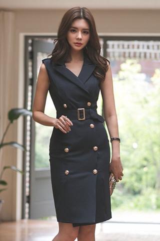 BACKORDER - Shashe Double Breasted Sleeveless Midi Dress In Black