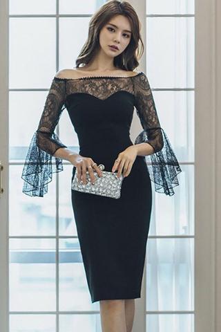 INSTOCK - Crezia Lace Bell Sleeve Back Slit Dress