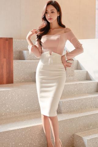 BACKORDER - Dvyrine Cold Shoulder Top With Front Ribbon Skirt Set