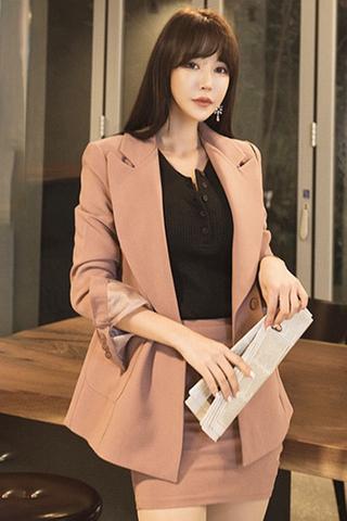 BACKORDER - Fivissa Sleeve Blazer With Skirt Set In Dusty Pink