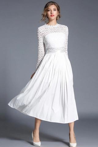 BACKORDER - Kiea Crochet Sleeve Pleated Dress