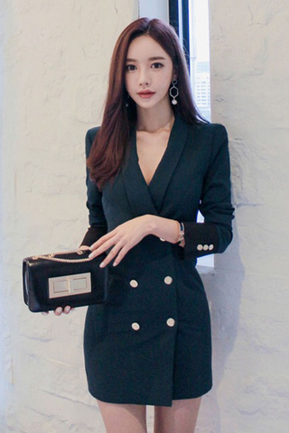 BACKORDER - Raylis Breasted Button Sleeve Dress