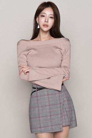 INSTOCK - Saberre Cold Shoulder With Plaid Cut Out Skirt Set