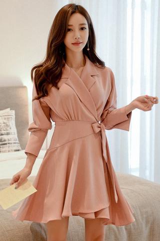INSTOCK - Aldora Ribbon Tie Wrap Dress In Pink