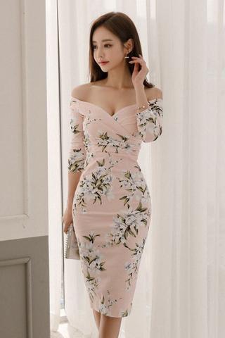 BACKORDER - Kylie Floral Print Cold Shoulder Dress