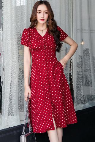 INSTOCK - Perzse Polka Dot V-Neck Dress