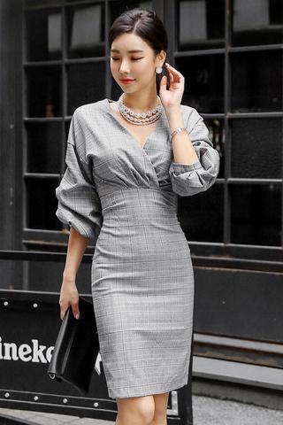 BACKORDER - Tervon Plaid Print Balloon Sleeve Dress