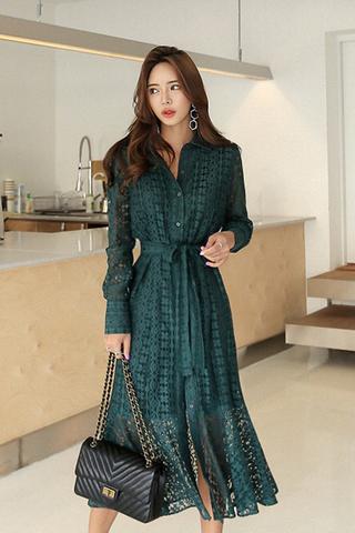 INSTOCK - Yanitha Collar Crochet Sleeve Dress In Emerald Green