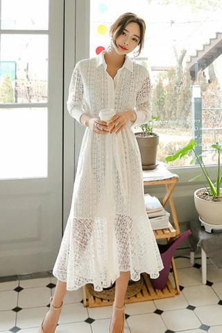 BACKORDER - Yanitha Collar Crochet Sleeve Dress In White