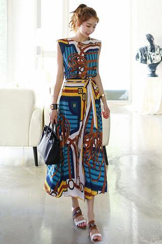 BACKORDER - Kelise Abstract Print Top With Skirt Set