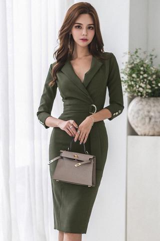 INSTOCK - Ketril V-Neck Sleeve Midi Dress