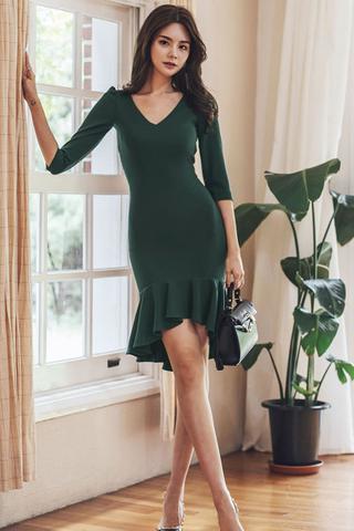 BACKORDER - Alrina V-Neck Ruffle Hem Dress