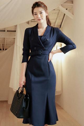 BACKORDER - Belvis Sleeve Collar Breasted Dress In Navy Blue