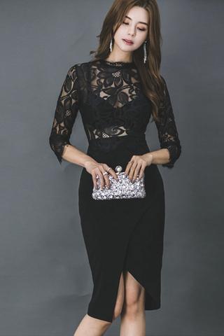BACKORDER - Brett Floral Lace Asymmetrical Dress