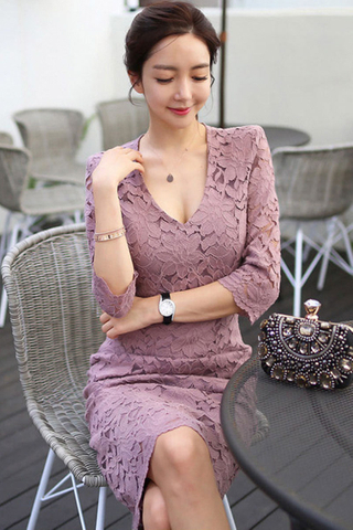 BACKORDER - Kanie Lace Overlay Midi Dress In Pink