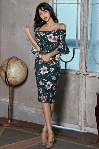 INSTOCK - Khiara Printed Off Shoulder Bell Sleeve Dress