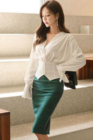 INSTOCK - Kiatta V-Neck Sleeve Top With Skirt Set  *(Only Skirt)