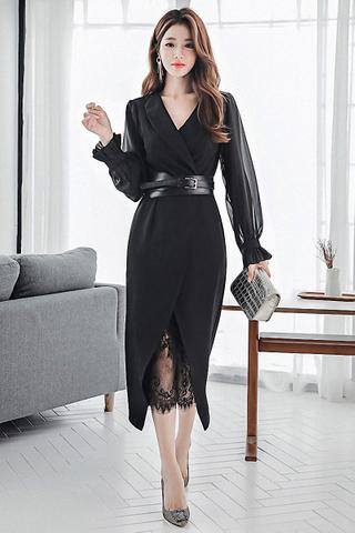 BACKORDER - Kisesa Mesh Sleeve Lace Hem Dress In Black