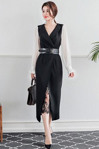 BACKORDER - Kisesa Mesh Sleeve Lace Hem Dress In White