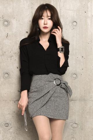 BACKORDER - Ranie Collar Sleeve Top With Skirt Set