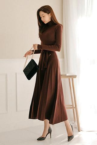 BACKORDER - Rossie High Neck Pleated Dress In Burgundy Brown